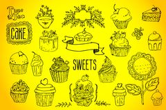 Tea and sweets - doodles collection Royalty Free Stock Photography