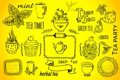 Tea and sweets - doodles collection Stock Images