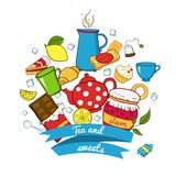 Tea and sweets icons set Stock Image