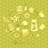 Tea and sweets icons set Stock Images