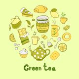 Tea and sweets icons set Stock Photos