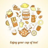 Tea and sweets icons set Royalty Free Stock Photography