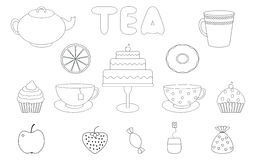 Tea,sweets prints for coloring book Royalty Free Stock Photo