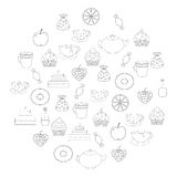 Tea,sweets prints for coloring book Royalty Free Stock Photography