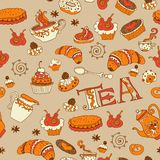 Tea,sweets seamless doodle pattern Royalty Free Stock Photography