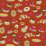 Tea,sweets seamless doodle pattern Royalty Free Stock Photo