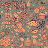 Tea,sweets seamless doodle pattern. Copy that square to the side. And you'll get seamlessly tiling pattern which gives the resulting image the ability to be Royalty Free Stock Photo