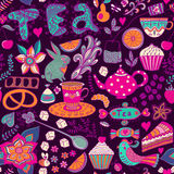 Tea,sweets seamless doodle pattern. Copy that square to the side Stock Images