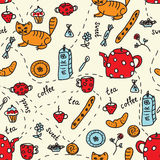 Tea and sweets seamless pattern Stock Image