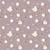 Tea and sweets seamless pattern. Royalty Free Stock Photography