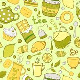 Tea and sweets seamless pattern in doodle style Royalty Free Stock Photos