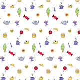 Tea and sweets. Seamless pattern, which topic is tea (coffee) and sweets. Teapot, cup of tea or coffee, ice cream, cookies, candies and a piece of cake. Flat Royalty Free Stock Photography