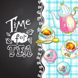 Tea and sweets top view Royalty Free Stock Image