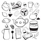 Tea and sweets vector black and white objects Stock Images