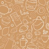 Tea and sweets vector seamless pattern Stock Photos