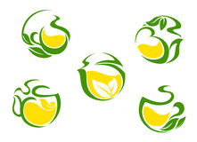 Tea symbols with lemon and green leaves Royalty Free Stock Images