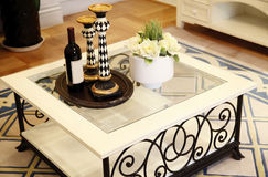 Tea table. Setting in living room Stock Photography