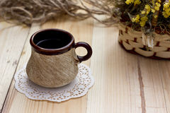 Tea on the table. Black tea on a table in a gorgeous weather in the village Royalty Free Stock Image