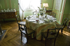 Tea table in Chateau Cheverny Stock Photo