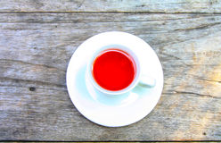 Tea on table. Hot tea on wood table background, Strawberry Tea Royalty Free Stock Photography
