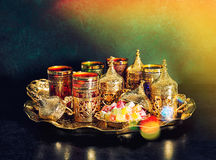 Tea table Oriental hospitality Ramadan vintage light leaks Stock Photos