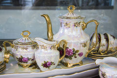 Tea  tableware decorated with painting Stock Photo