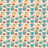 Tea tableware pattern. Breakfast seamless pattern with tea pots, cups and cakes. Hand drawn vector illustration vector illustration