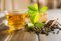 Tea and tea leaves. On wooden table Stock Image