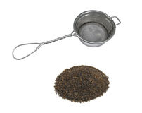 Tea and tea strainer. Black tea and tea strainer Stock Photo