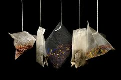Tea, Teabags, Black Background Stock Photography