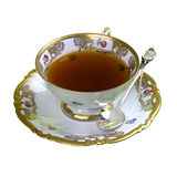 Tea, teacup, isolated, aromatic,. Tea in cup on saucer isolated on white witch clipping patch royalty free stock photos