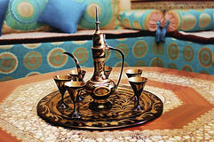 Tea. Pot in arabic living room Royalty Free Stock Photos