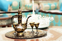 Tea. Pot in arabic living room Royalty Free Stock Images