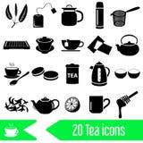 Tea theme black simple icons set Stock Photography