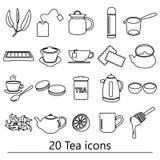 Tea theme black simple outline icons set Royalty Free Stock Photo