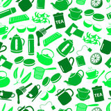 Tea theme green simple icons seamless pattern Royalty Free Stock Photography