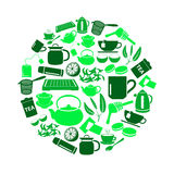 Tea theme green simple icons set in circle Stock Photography