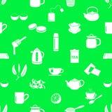 Tea theme simple icons seamless pattern Stock Photo