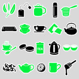 Tea theme simple stickers icons set Stock Photography