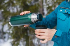 Tea from a thermos in the winter cold forest royalty free stock images
