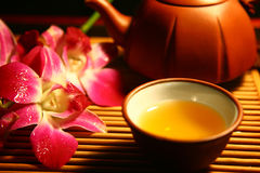 Tea time 02. Small tea cup and tea pot royalty free stock photography