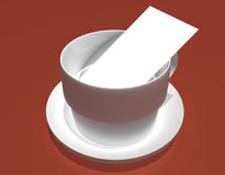 Tea Time. A cup and saucer on a table with a note card or business card inside Royalty Free Stock Image