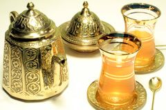 Tea Time. This is a close up image of a Turkish tea set royalty free stock photos
