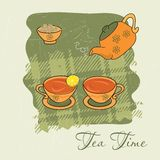 Tea time. Set of two tea cups and a teapot Stock Images
