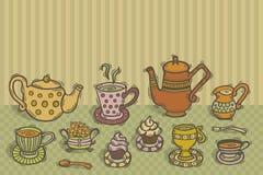 Tea time. Illustration with hand drawn tea set on the table. Ready to enjoy tea Stock Image