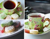 Tea time. Photo collage of three pictures. Tea time concept. Romantic & elegant Royalty Free Stock Images