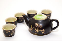 Tea Time. Handmade Chinese tea set for five stock image