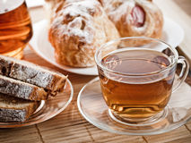 Tea time. Tea, biscuits and pastry for tea time Stock Image