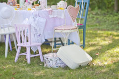 Tea time. A beautiful table dressed up for tea time Royalty Free Stock Photography