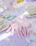 Tea time. A beautiful table dressed up for tea time Royalty Free Stock Image